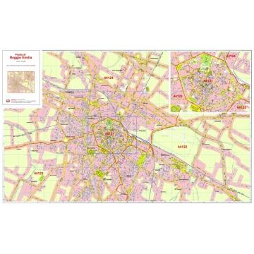 Plan of Reggio Emilia with postal codes