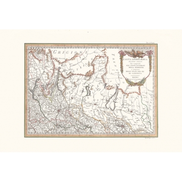 Antique map color of high Lombardy second sheet