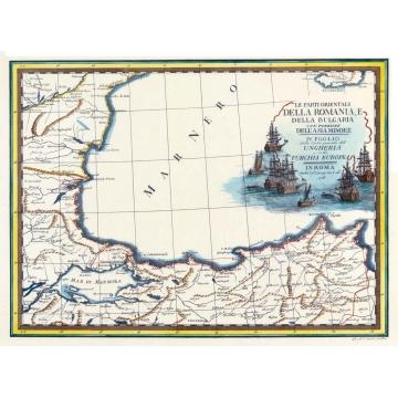 Antique map of Romania and Bulgaria