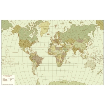 Sepia map of the world cm. 140 x 90