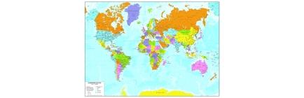 Planisfero politico a colori