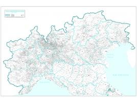 Carta geografica dell'Italia amministrativa settentrionale