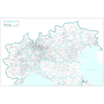 Administravie map of northen italy