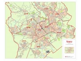 Plan of Bergamo with postal codes