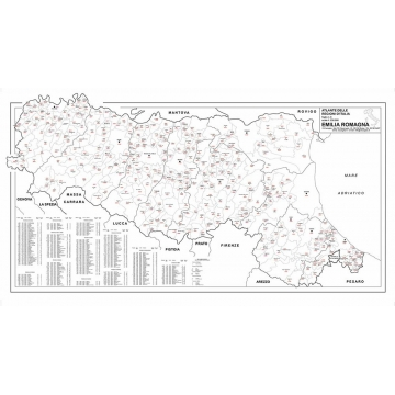 Map of Emilia Romagna with postal codes