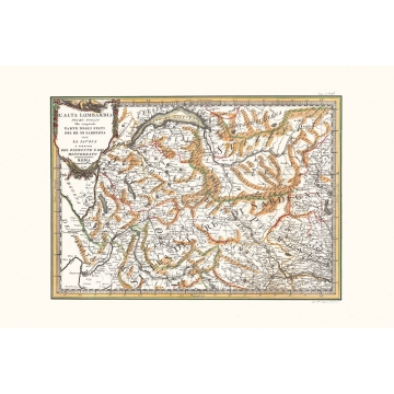 Antique map color of high Lombardy first sheet
