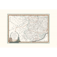 Antique map color of high Lombardy third sheet
