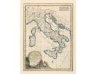 Carta geografica antica dell'Italia del 1800