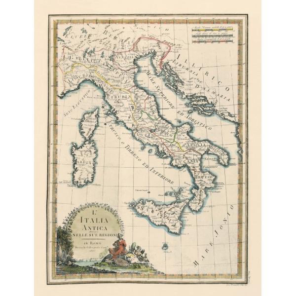 Mappa Dellitalia Antica.Carta Antica Dell Italia