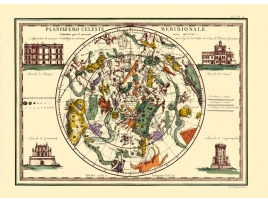 Carta geografica antica del Planisfero Celeste Meridionale 1790