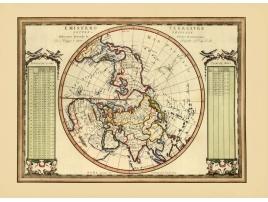 Carta geografica antica dell'Emisfero Terrestre Settentrionale del 1789
