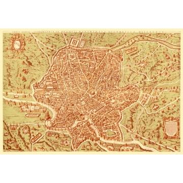 Carta geografica antica di Roma 1570