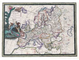 Antique color map of Europe