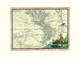 Carta geografica antica delle Americhe 1805