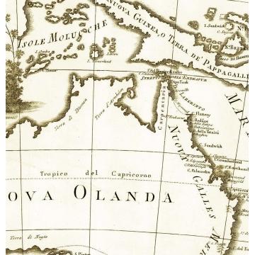 Carta geografica antica della Nuova Olanda e Nuova Guinea 1798