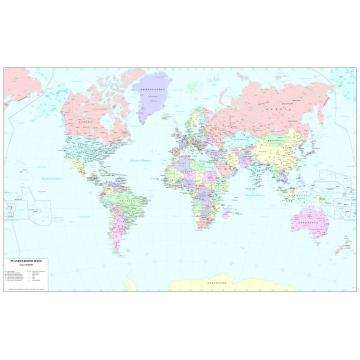 Carta geografica del mondo politica con colori pastello