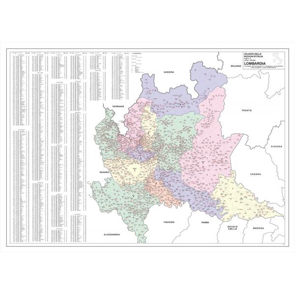 La Cartina Fisica Della Lombardia.Regione Lombardia Con Cap