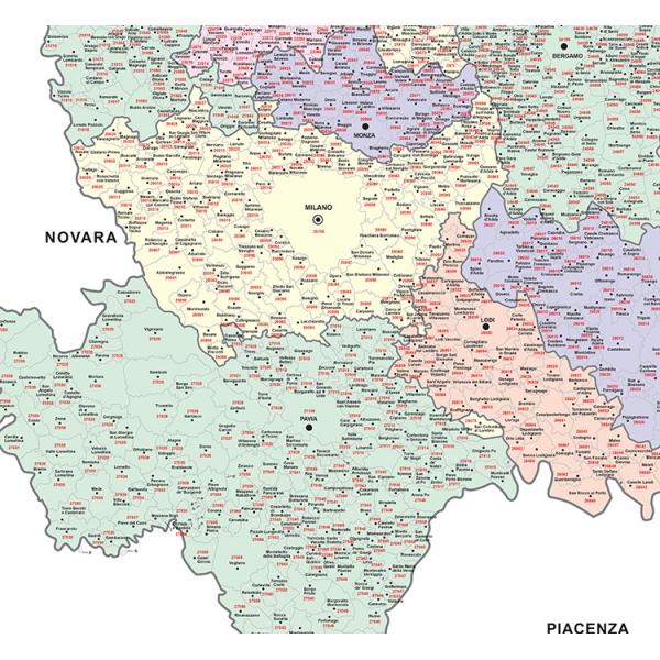 Cartina Geografica Cartina Comuni Della Provincia Di Cremona.Mappa Cap Milano E Provincia