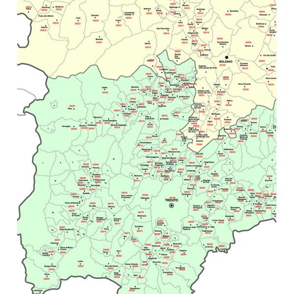 Trentino Alto Adige Cartina Geografica Fisica.Mapo Of Trentino Alto Adige With Postal Codes