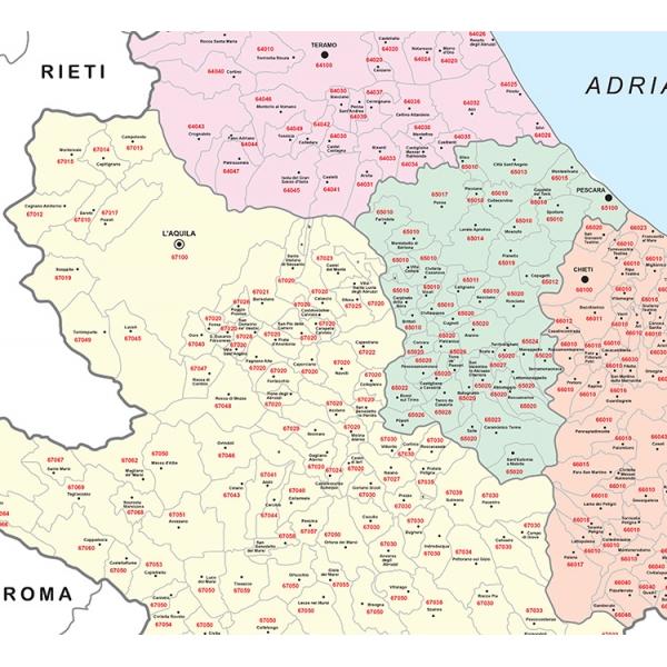 Cartina Della Regione Abruzzo.Regione Abruzzo Con Cap
