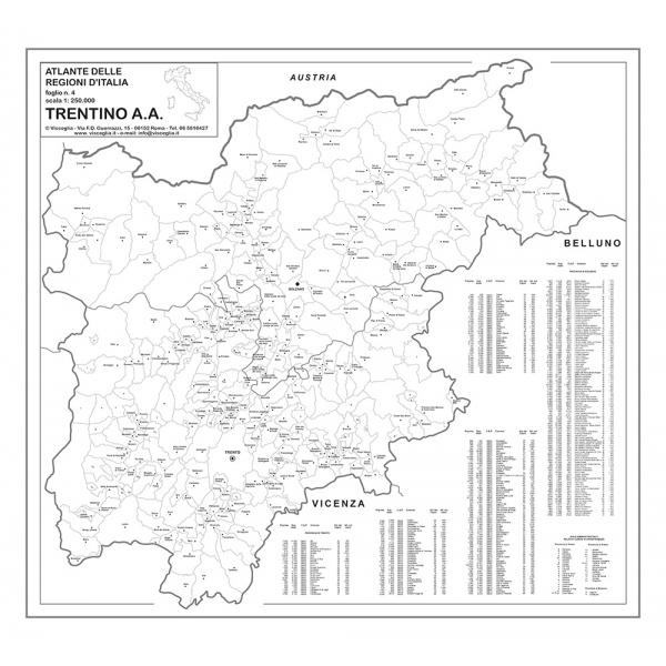 Regione Trentino Alto Adige Cartina Geografica.Regione Trentino Alto Adige Con Cap