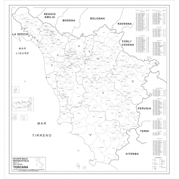 Carta geografica della Regione Toscana