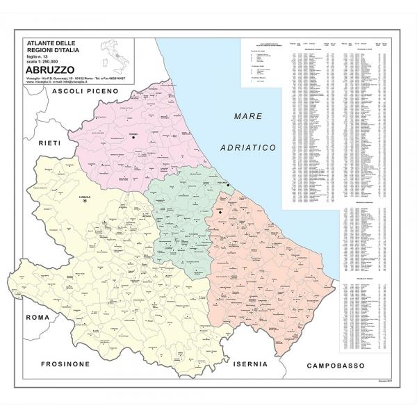 Cartina Dettagliata Dell Abruzzo.Carta Geografica Della Regione Abruzzo