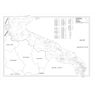 Cartina Geografica Fisica Puglia.Regione Puglia Con Cap