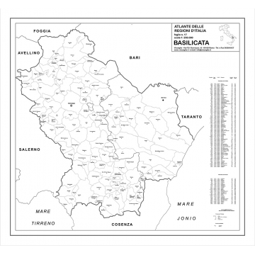 Map of Basilicata with postal codes