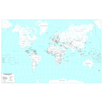 Administrative map of world in black and white cm 140 x 90
