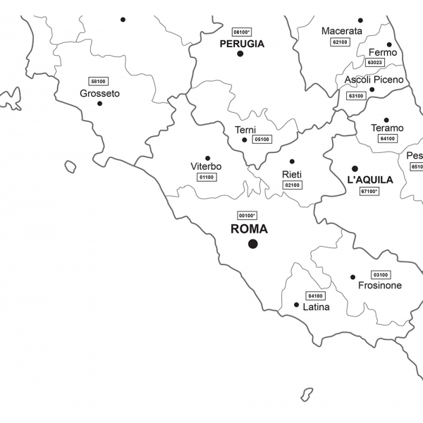 Map Of Italy Black And White.Administrative Map Of Italy