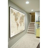 Carta geografica del mondo, effetto antichizzato,  stampata in color seppia