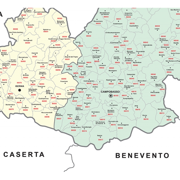 Map of Basilicata with postal codes