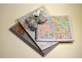 Travel notebooks with printed geographical maps