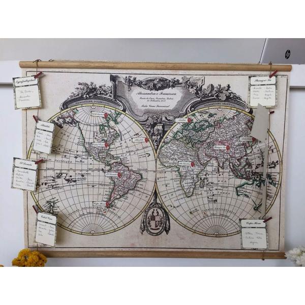 Tableau de mariage su tela canvas visceglia carte e for Mappa mondo bianco e nero