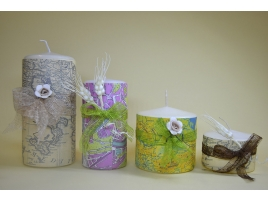Handcrafted candles with maps