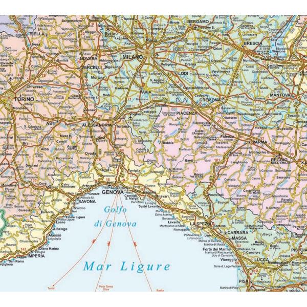Cartina Stradale Liguria Piemonte.Italia Politico Stradale Nord