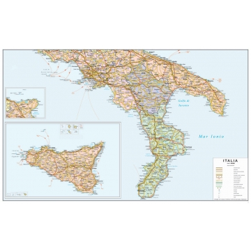 Map Of Southern Italy Regions.Political Road Map Of Southern Italy