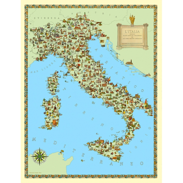 Map Of Europe With Italy Highlighted.Italy Thematic