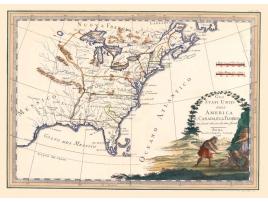 Carta geografica antica degli Stati Uniti Canada Florida 1797