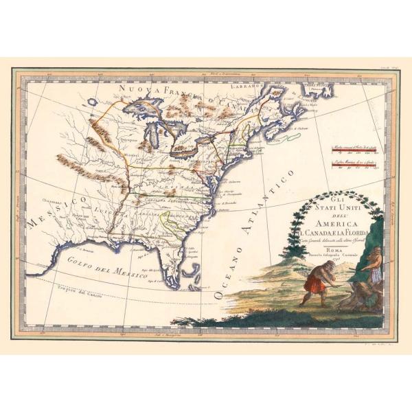 Carta Antica Degli Stati Uniti Canada Florida Secondo Foglio 1797