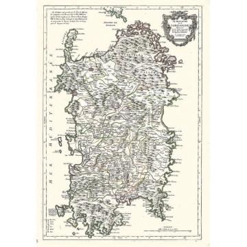 Carta geografica antica della Sardegna 1779