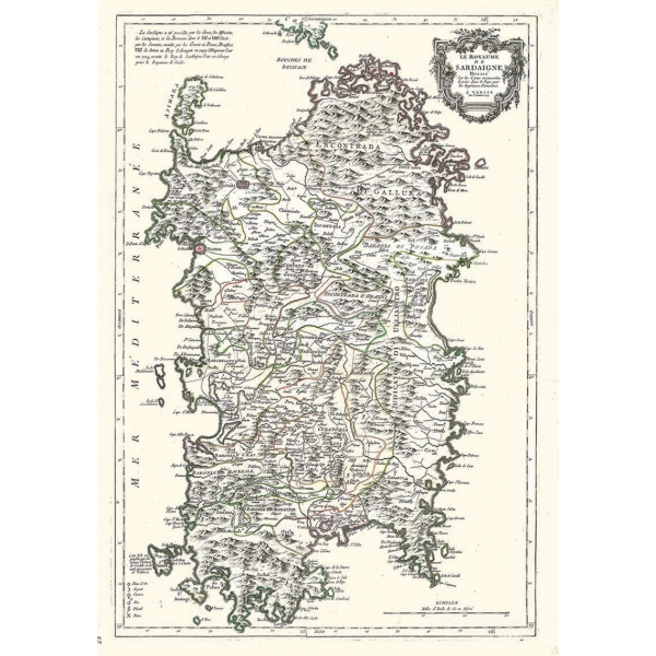 Immagini Della Cartina Geografica Della Sardegna.Carta Antica Della Sardegna 1779