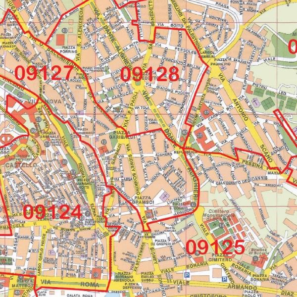 Cartina Geografica Di Cagliari.Citta Di Cagliari Con Cap