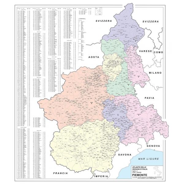 La Cartina Del Piemonte.Regione Piemonte