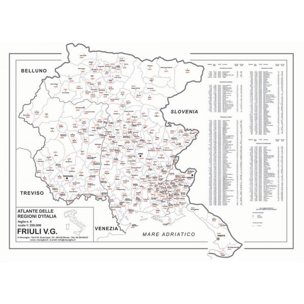 Regione Friuli Venezia Giulia Cartina.Regione Friuli Venezia Giulia Con Cap