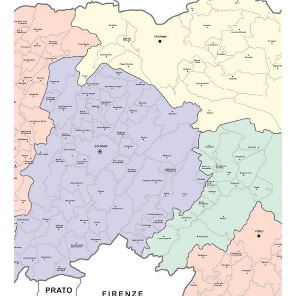 Cartina Geografica Regione Emilia Romagna.Regione Emilia Romagna Con Cap