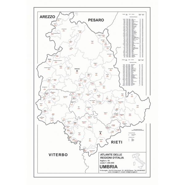Umbria Cartina Geografica Fisica.Regione Umbria Con Cap