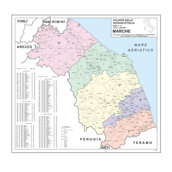 Cartina Geografica Marche.Carta Geografica Della Regione Marche