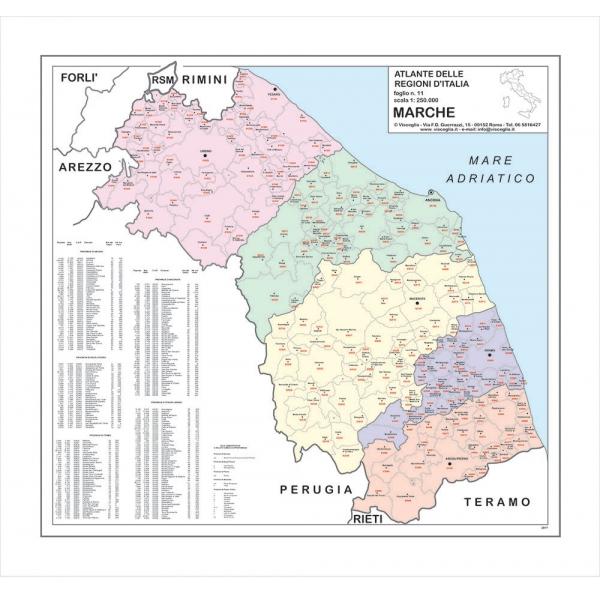Cartina Topografica Marche.Regione Marche Con Cap